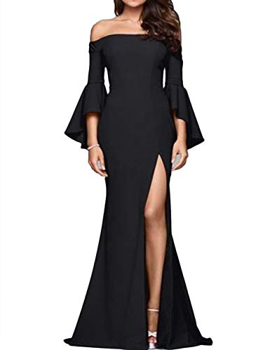 ECDAHICC Women' s Off The Shoulder Bell Sleeve High Slit Formal Evening Party Maxi Dresses(BL,S) Black