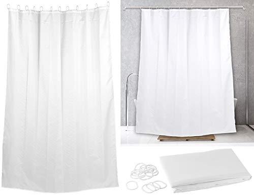 BadeStern Duschvorhang wasserdicht: Duschvorhang weiß, 180 x 200 cm, mit 12 Befestigungsringen, waschbar (Duschvorhang wasserabweisend)