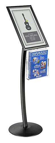 Displays2go 49.3 inch Floor Standing Sign Holders, Snap Frames Display 11 x 17 Inch Poster, Adjustable Pamphlet Pocket, Aluminum and Acrylic Construction � Black (CMB17NGWB)