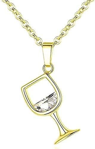ZPPYMXGZ Co.,ltd Collar Moda Mujer Regalo Copa de Vino Colgante Collar de Cadena para Mujer Talla 45Cm