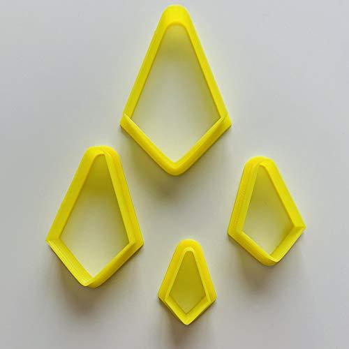Set of 4 Diamond Geometric ShapePolymerClayCutter, Cookie Cutter