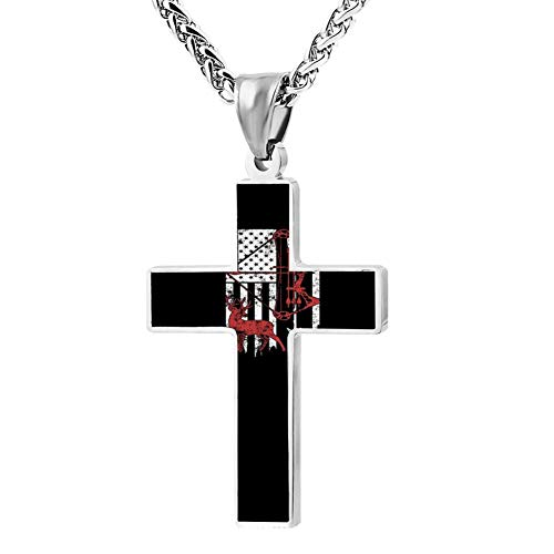 M100% 2018 Bow Hunting Deer Hunting Flag Metal Religious Zinc Alloy Stainless Silver Steel Cross Necklace Holder Pearl Chain Urn Pendants