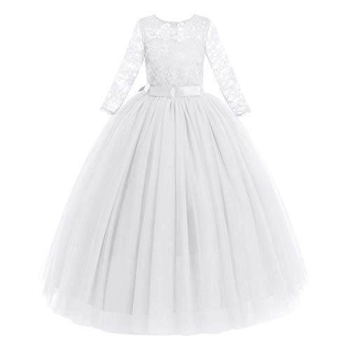 FYMNSI Vestido largo de noche para niñas de 2 a 14 años, para bodas, damas de honor, de fiesta, tul princesa, encaje, manga 3/4, vestido de cóctel, primera comunión, baile Blanco 9-10 Años