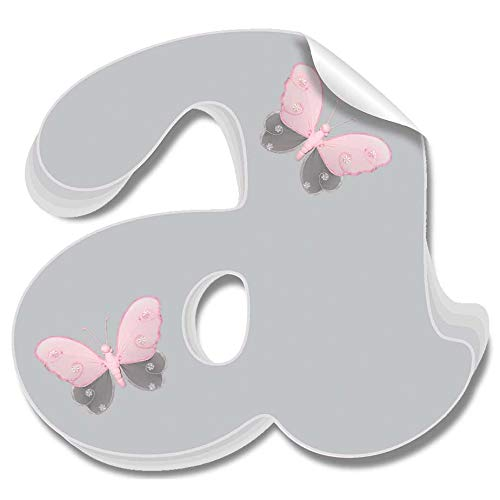 Bugs-n-Blooms Wall Decals Letter a Gray Grey Pink Butterfly Letters Custom Baby Name Decal Stickers Decorative Alphabet Decor - Children's Room, Baby's Nursery, Girl's Bedroom, Kid's Playroom
