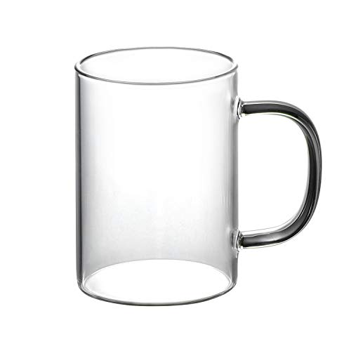Vaso con asa, vasos de cerveza, vasos transparentes, vasos de cerveza, vasos clásicos, vasos lácteos, agua, vasos de café, 300 ml, vidrio de borosilicato único para bebidas, zumo, té, capuchino