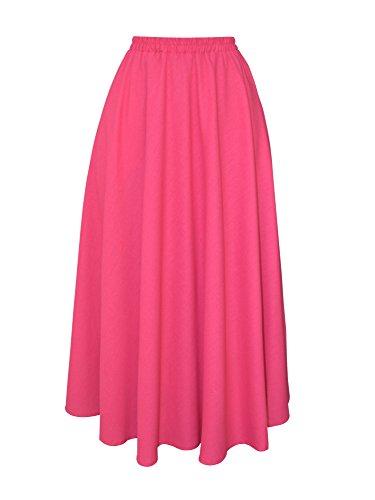 Donna Gonna Lino Maxi Lunga Elegante Solida Colore Elastica in Vita con Tasche Linea ad A Orlo Largo - Rosa Rossa 90CM