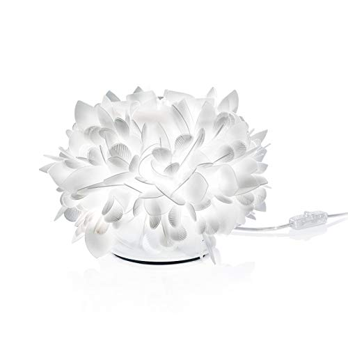 Veli Foliage Kunststoff Tischleuchte Slamp weiß   Handgefertigt in Italien   Tischlampe Dimmbar   Lampe E14 VEL78TAV0001FG000