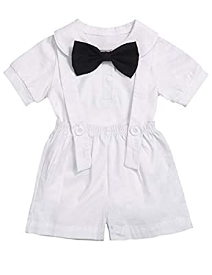 Baby Boy Clothes Gentleman Bowtie Romper and Overalls Suspenders Pants Wedding Tuxedo Outfits (White, 0-6months)