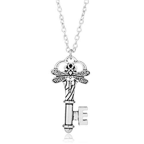 YUNMENG TV Series Outlanders Dragonfly Symbols Key Pendant Necklaces Link Chain Necklace for Men Women Vintage Accessories Colar