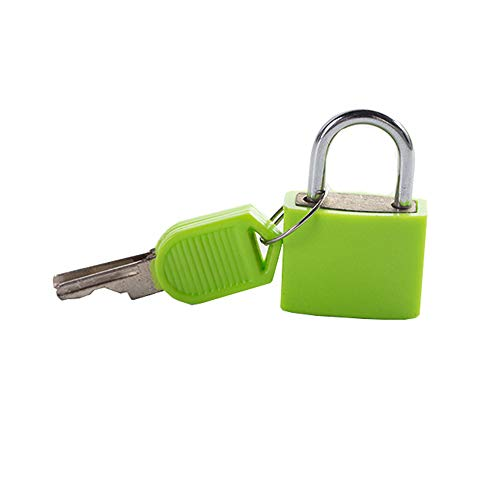 Mini Padlock with Keys Travel Lock Keyed Padlocks for Luggage Lockers Backpacks Computer Bags Toolbox (Green)