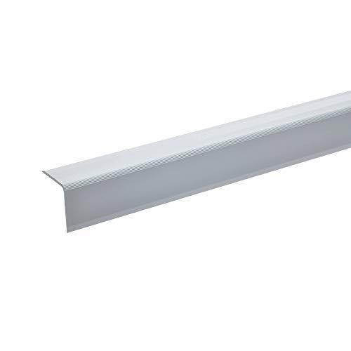 acerto 51124 Aluminium Treppenwinkel-Profil - 135cm, 27x27mm, silber * Rutschhemmend * Robust * Leichte Montage Treppenkanten-Profil, Treppenstufen-Profil aus Alu Selbstklebendes Treppenkanten-Profil