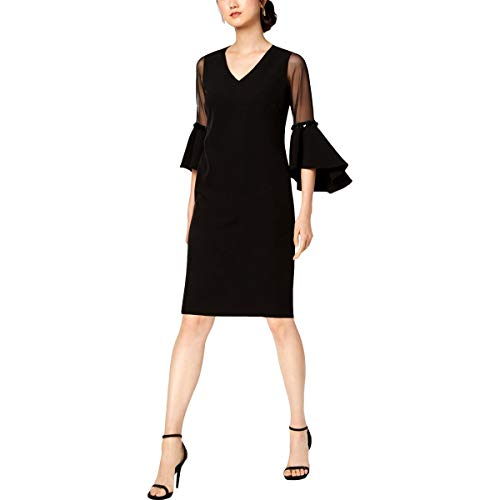 MSK Womens Petites Sequined Bell Sleeve Cocktail Dress Black 6P