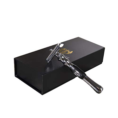 Double Edge Safety Razor For Men and Women, 5 refilled blades. TITAN SHAVE | Cronus Edition.