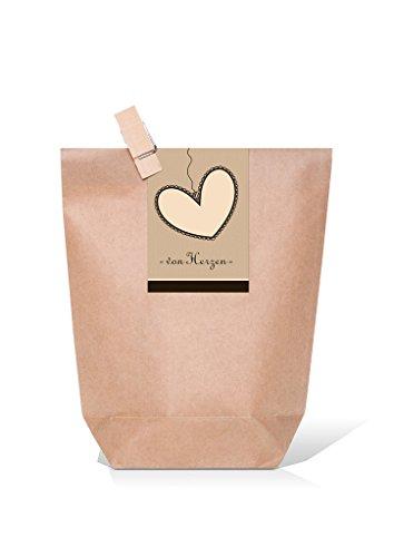 10 kleine braune Papiertüten mit Holzklammer + Herz-Aufkleber Banderole schwarz braun zum Verschließen VON HERZEN 14 x 22 x 5,6 cm Geschenktüte Hochzeit Gastgeschenk give-away Verpackung