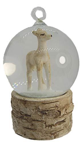 OnHoliday Doe Deer Woodland Animal Inside Snow Globe on Tree Stump Christmas Tree Ornament Doe Deer