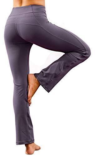 Ecupper - Pantalones de Yoga para Mujer, Cintura Alta, elásticos, para Yoga, Pilates, Fitness, Entrenamiento, Mujer, Color Grau Violett, tamaño 36