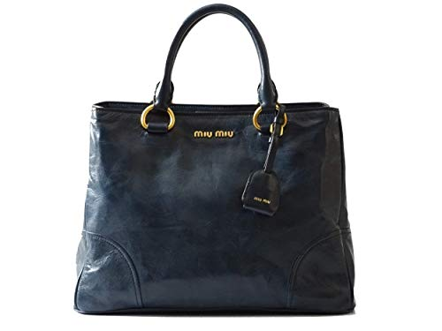 miu miu RN1092 - Borsa da donna Vitello Shine, doppia zip, in denim, 35 x 15 x 26 cm