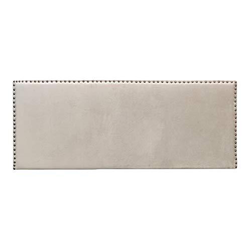 Cabecero tapizado de Terciopelo con Tachuelas Beige de 160x60 cm - LOLAhome