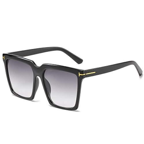 Secuos Moda Gafas De Sol Cuadradas para Mujer, De Marca Vintage, De Gran Tamaño, para Mujer, Gafas De Sol, Gradiente Negro, para Mujer, para Hombre, Uv400, Blackgray