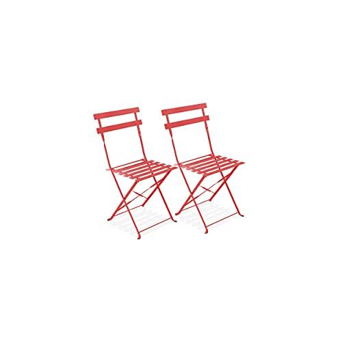 Oviala Lot de 2 chaises Pliantes bistrot Rouge Carré 42 x 46 x 82 cm Acier 2 Places Rome