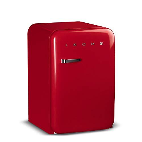 IKOHS Retro Fridge - Frigorífico con diseño, Control de Temperatura Ajustable, Estantes Intercambiables, Estética Vintage de los años 50, Clase Energética A+ (Rojo, 83.5 cm)