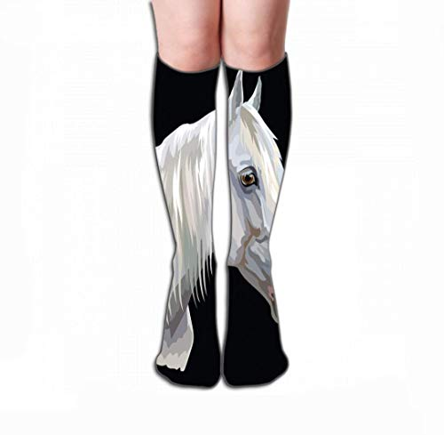 JAONGSADY Men Women Outdoor Sports High Socks Stocking gekleurde horse portret gekleurd portretwit orlov trotter horse head long mane profielen geïsoleerd Creative Tile lengte 19,7 inch (50cm)