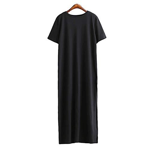 Maxi Vestido De Camiseta De Mujer De Invierno Otoño Vintage Sexy Bodycon De Navidad Negro Blanco De Algodón Vestidos De Manga Larga De Talla Grande De Gran Tamaño