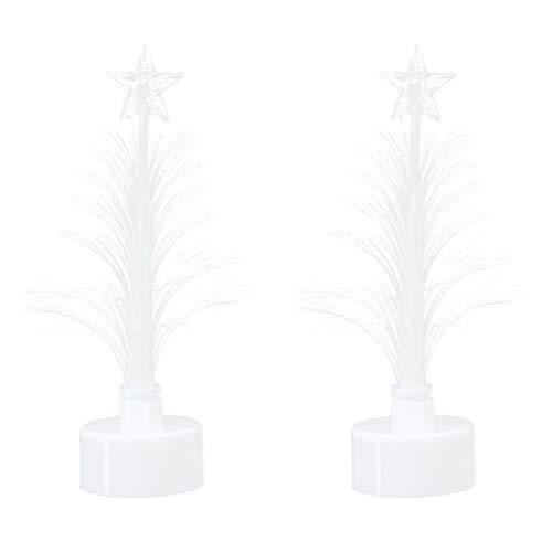 Amosfun 2 x Fibre Optic Christmas Tree Table Mini Christmas Tree with Stand Christmas Table Decorations