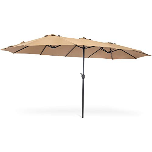 Best Choice Products 15x9ft Large Double-Sided Rectangular Outdoor Aluminum Twin Patio Market Umbrella w/ Crank and Wind Vents - Beige