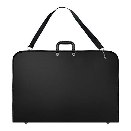 Mogzank Caja de Cartera de Arte Negro Estuche de Transporte de Artista Estuche para Carteras de Artistas con Correa para el Hombro (19X14.7X1.5 Pulgadas)