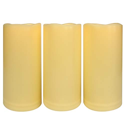 """3PCS 7"""" Waterproof LED Flameless Timer Candles, 1000 Hours Long Battery Life / Flickering Battery Operated Electric Outdoor LED Large Pillar Candle for Outside Lantern Festival Decor etc."""