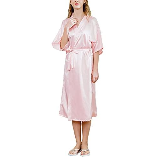GHHONG CamisóN Sexy para Mujer Bata de LenceríA de Pijama de Seda Satinada Novia y Dama de Honor(Size:XXL,Color:rosado)