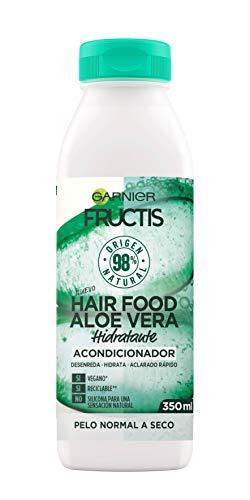 GARNIER Fructis Hair Food Acondicionador de Aloe Vera Hidratante Para Pelo Normal a Seco, Negro, Floral, 350 Mililitros