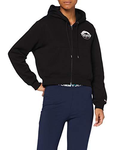 Tommy Jeans Damen Tjw Cropped Logo Zip Thru Pullover, Schwarz, S