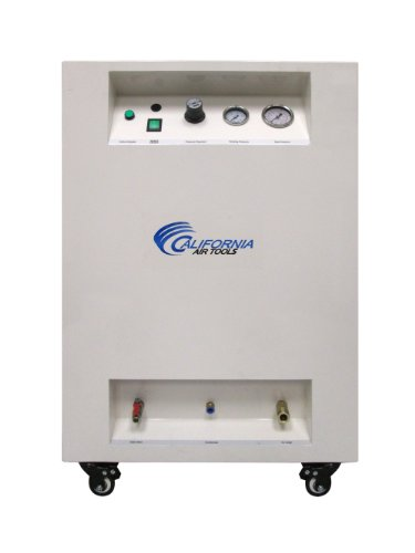 California Air Tools 10020SPC Ultra Quiet & Oil-Free 2.0 Hp Steel Tank Air Compressor in Sound Proof Cabinet, 10 gallon, White