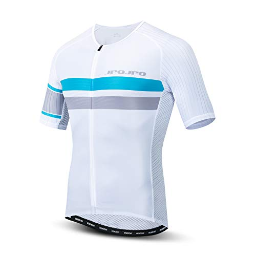 Weimostar Men's Cycling Jersey Short Sleeve Bicycle Clothing MTB Bike Shirt Tops Reflective with 4 Rear Pockets White Size L