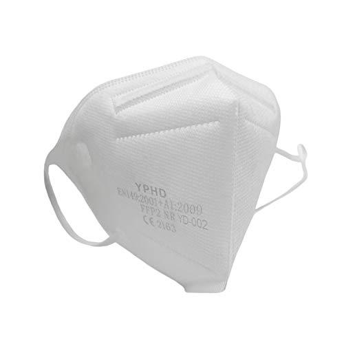 YPHD FFP2 Masken - Atemschutzmaske CE 2163 Zertifiziert, EU Norm EN149:2001 + A1:2009 - Partikelfiltermaske mit Nasenbügel in Einzelverpackung, Versand aus Deutschland (10x, Weiß)