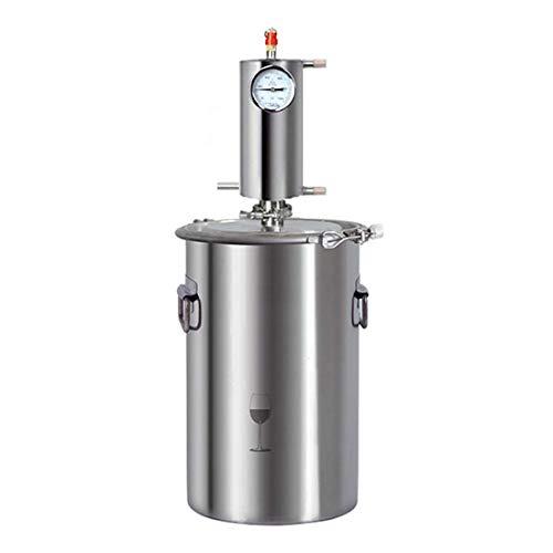 DLILI Destilador de Alcohol de Agua de Acero Inoxidable, la Caldera de Vino con termómetro se Utiliza para Hacer el rocío Puro de pétalos, aceites Esenciales, Vino de Frutas, Agua destilada, 20 l