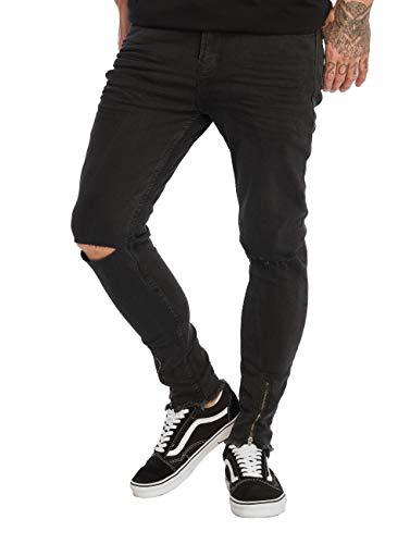 VSCT Clubwear Herren Slim Fit Jeans Keanu Leg Zip schwarz W 33 L 34
