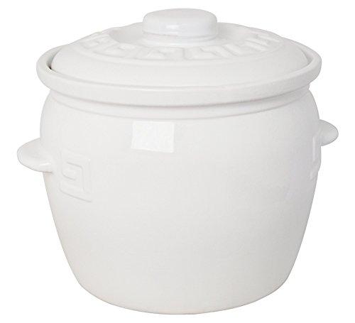 K&K Keramik Kartoffeltopf / Zwiebeltopf 7 Liter - weiß glasiert aus Steingut-Keramik