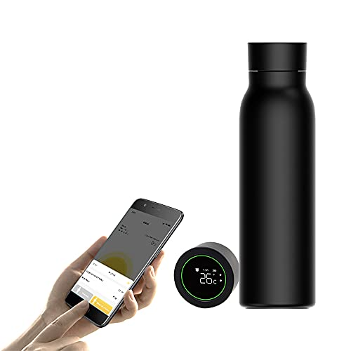 Aspiradora inteligente con pantalla LED de temperatura Botella de agua aislada taza de acero inoxidable para viajes oficina deportes y al aire libre (negro)