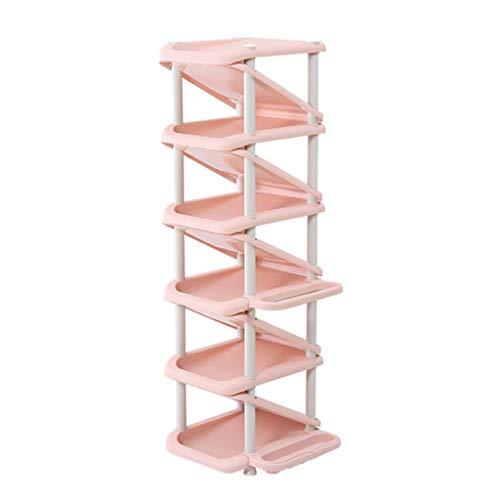 DAGCOT Zapatero Placa de Resina clásica de 11 Capas Práctico Zapatero, diseño Multifuncional en Forma de Z, Ahorra Espacio, Viene con Soporte for sombrilla y Gancho for Llaves (Color : Pink)