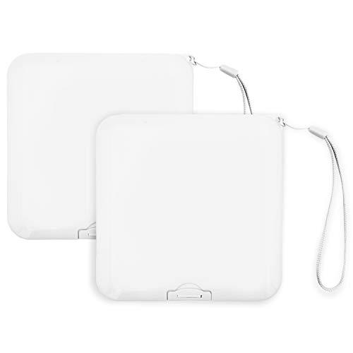 2x Maskenbox für Mundschutz, Tragbare Aufbewahrungsbox ideal für FFP2 Maske, Aufbewahrungsbehälter mit Band, Maskenetui für staubdichte Masken Aufbewahrung, Box für Mundschutzmasken (Weiß)