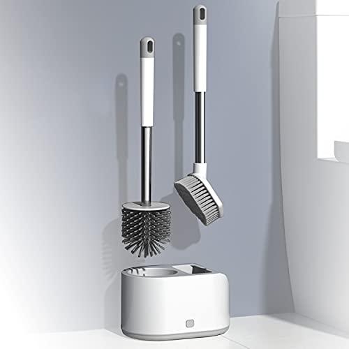 Escobilla WC Silicona escobilla del Water Escobillas de Baño con Secado Rápido Escobilla y Portaescobillas para Inodoro para Rincones y Espacios Reducidos