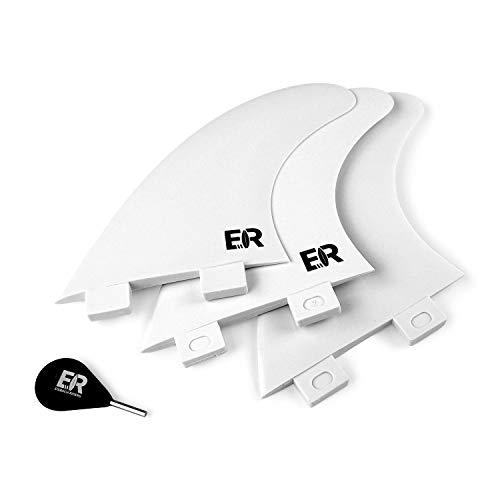 Eisbach Riders - FCS Surfboard Thruster Fin Set with Fin Key - Quillas para Tablas de Surf - Size Medium (Blanco)