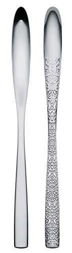 Alessi'Dressed' Latte Macchiato Spoons in 18/10 Stainless Steel Mirror Polished With Relief Decoration (Set of 6), Silver