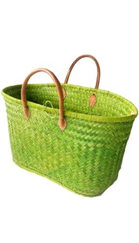 Bolso de Playa, Bolso de Compras de Vacaciones para Mujer, Bolso de Verano Fibra natural,Bolso Chic Bohemia para Mujer Bolsos de Mano de Verano Playa con Asas de cuero (verde)
