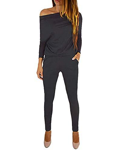 Yoins - Mono de manga larga para mujer, un solo hombro, elegante, monocromático A-gris oscuro. XL