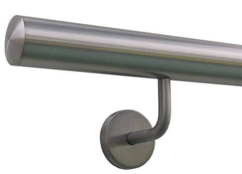 Edelstahlhandlauf Länge 0,3m - 6m aus einem Stück & unterschiedlichen Endstücken zum Auswählen Ø 42,4 mm mit gewinkelte Halter, Beispiel:Länge 250 cm mit 3 Halter, Enden mit leicht gewölbte Kappe