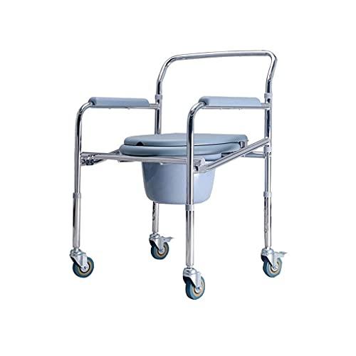 SONGYU Klappbarer Nachttisch-Toilettenstuhl Tragbarer 3-in-1-WC-Badewannen-Duschsitz für Erwachsene Handicap Ältere Höhenverstellbar mit Rädern Eimerdeckel Spritzschutz